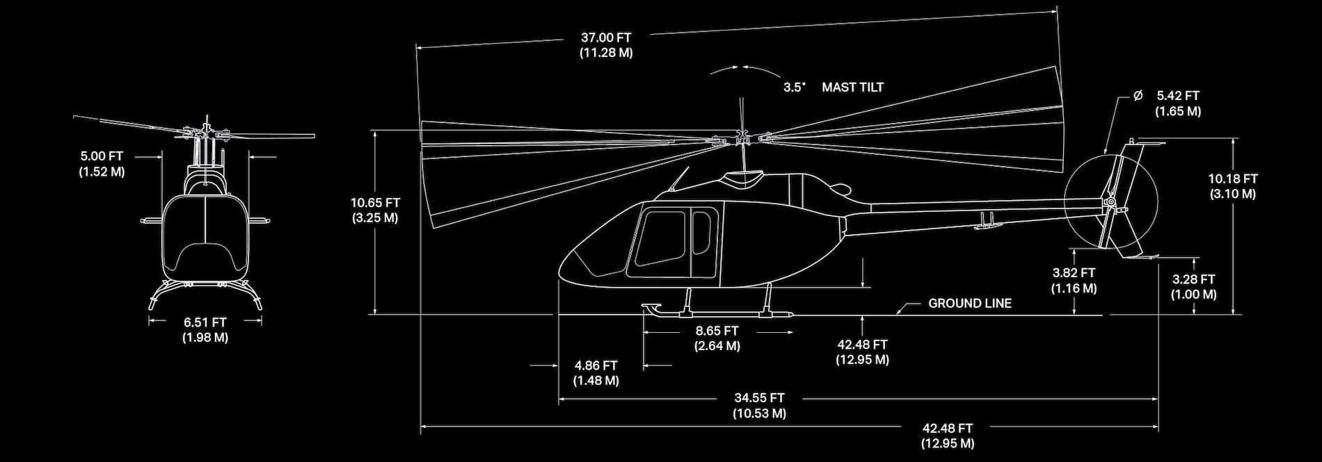 Imagen de especificaciones del Bell 505