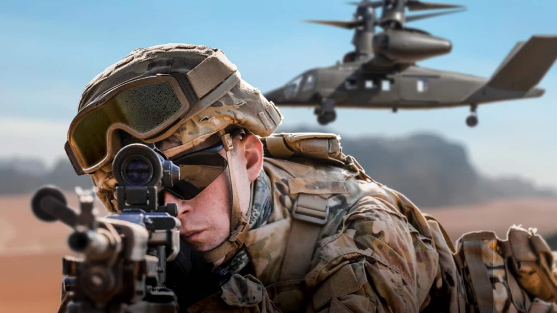 bell v-280 con soldado en segundo plano