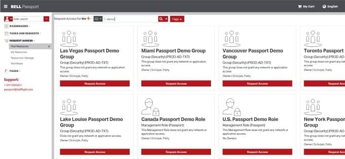 Imagen de la pantalla de búsqueda de Bell Passport